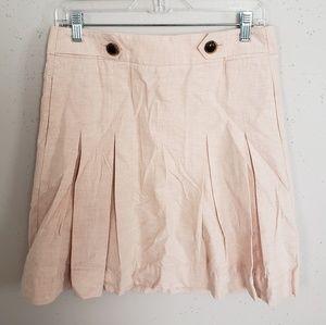 J Crew Pink Pleated Skirt Women Size 2 100% Cotton